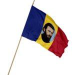 Drapel Romania cu bustul lui Arsenie Boca