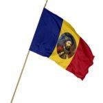 Drapel Romania cu bustul lui Constantin Brancoveanu